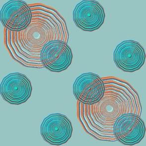 Polka Dot Ripples Blue and Orange