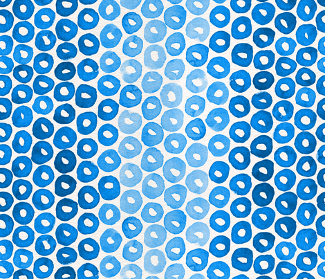 Indigo Watercolor Abstract Geometric Circles // Blue Donut Cheerio Shapes fabric by zirkus_design on Spoonflower - custom fabric
