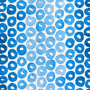 Indigo Watercolor Abstract Geometric Circles // Blue Donut Cheerio Shapes