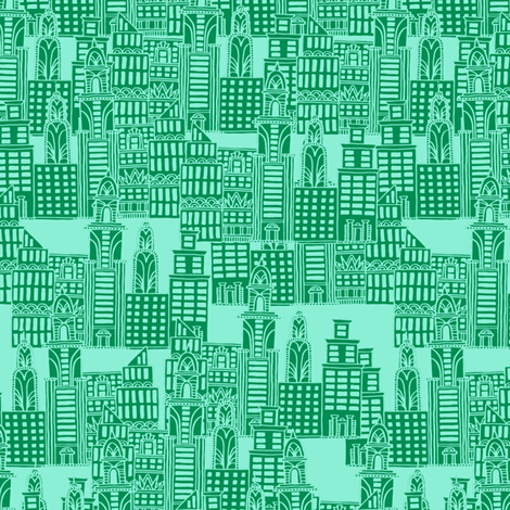 Mint & Emerald City fabric by seesawboomerang on Spoonflower - custom fabric