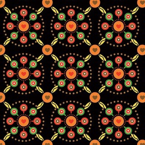 Dutch Tole Floral Trellis with Hearts in Fall Colors, Lollipops