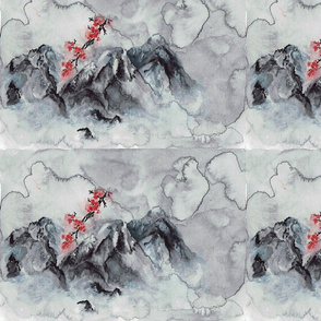 Watercolor Japanese Mountains