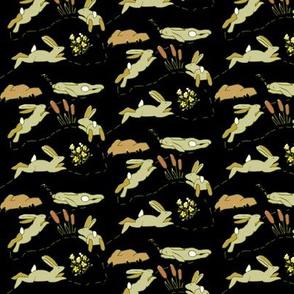 Rabbit Race Beige Rabbits on Black