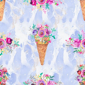 WATERCOLOR FLOWERS ICE CREAM CONES MARBLED PERIWINKLE BLUE