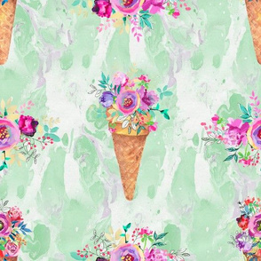 WATERCOLOR FLOWERS ICE CREAM CONES MARBLED SPRING GREEN mint