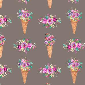 WATERCOLOR FLOWERS ICE CREAM CONES TAUPE