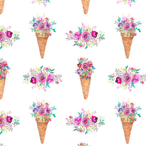 WATERCOLOR FLOWERS ICE CREAM CONES WHITE