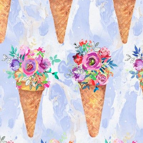 WATERCOLOR FLOWERS ICE CREAM CONES ROWS MARBLED PERIWINKLE BLUE