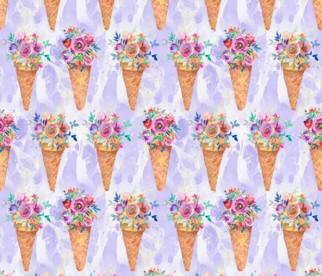 WATERCOLOR FLOWERS ICE CREAM CONES ROWS MARBLED VIOLET purple fabric by floweryhat on Spoonflower - custom fabric