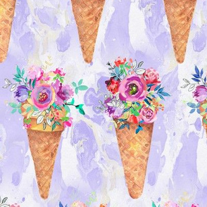 WATERCOLOR FLOWERS ICE CREAM CONES ROWS MARBLED VIOLET purple
