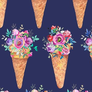WATERCOLOR FLOWERS ICE CREAM CONES ROWS NAVY