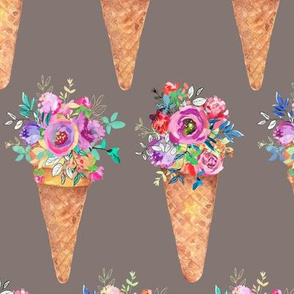 WATERCOLOR FLOWERS ICE CREAM CONES ROWS TAUPE
