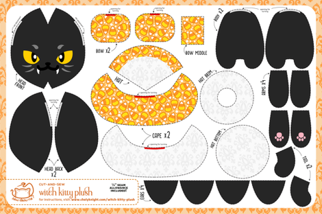Cut & Sew Witch Kitty Plush Candy Corn fabric by sewdesune on Spoonflower - custom fabric