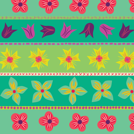 Whimsy Floral Stripes fabric by johannaparkerdesign on Spoonflower - custom fabric