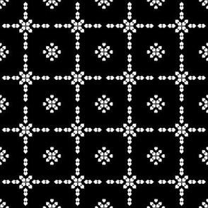 Black Noir Leaf Flower Grid