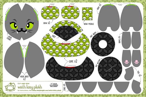 Cut & Sew Witch Kitty Plush Skulls fabric by sewdesune on Spoonflower - custom fabric