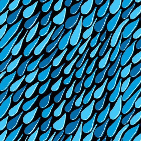 monochromatic blue aqua turquoise navy rain, black background, large scale fabric by amy_g on Spoonflower - custom fabric