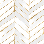 chevron painted - white + gold