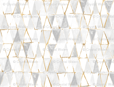 painted triangles - white + gold