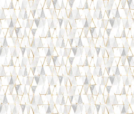 painted triangles - white + gold fabric by crystal_walen on Spoonflower - custom fabric