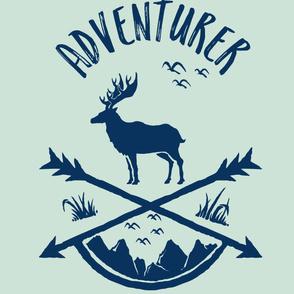 """56""""x72"""" Adventurer Minty Green and Navy Deer"""