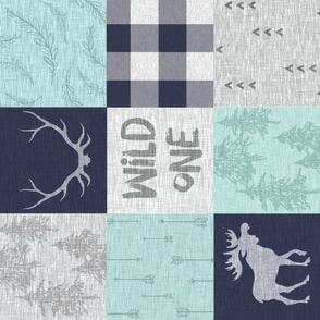 Wild One Quilt - Mint, Navy, white - ROTATED