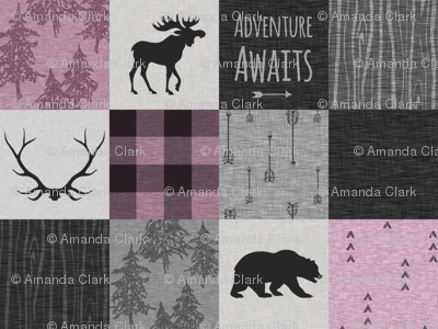 Adventure Awaits Quilt- orchid, grey, Black