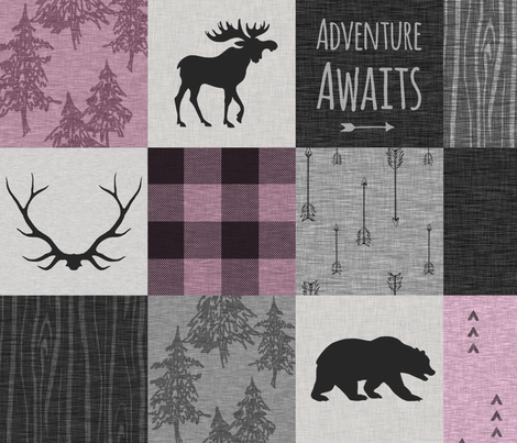 Adventure Awaits Quilt- orchid, grey, Black fabric by sugarpinedesign on Spoonflower - custom fabric