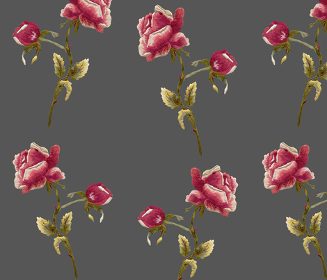 rose embroidery, lg. scale fabric by poolofblue on Spoonflower - custom fabric