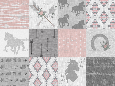 BoHo Horse Quilt - pink and grey