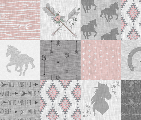 BoHo Horse Quilt - pink and grey fabric by sugarpinedesign on Spoonflower - custom fabric