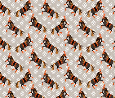 Performing horses fabric by yopixart on Spoonflower - custom fabric