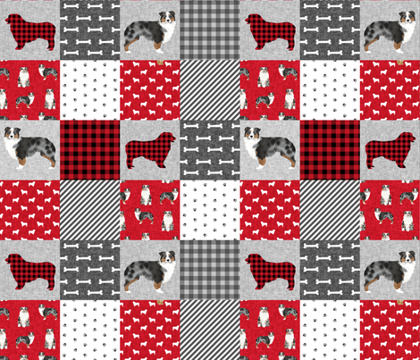 australian shepher pet quilt a blue merle cheater quilt floral fabric by petfriendly on Spoonflower - custom fabric