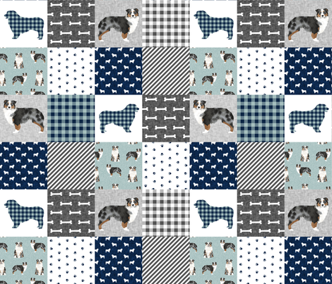australian shepher pet quilt b blue merle cheater quilt floral fabric by petfriendly on Spoonflower - custom fabric