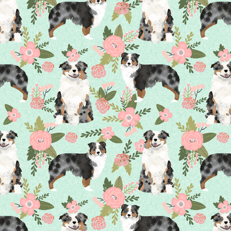 australian shepher pet quilt d blue merle coordinate floral fabric by petfriendly on Spoonflower - custom fabric