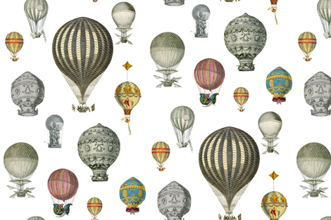 The History of Hot Air Balloons  fabric by peacoquettedesigns on Spoonflower - custom fabric
