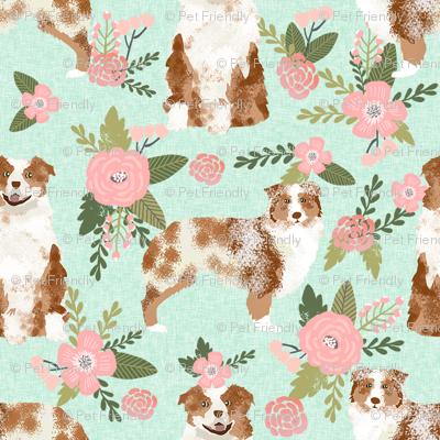 australian shepherd red merle pet quilt d coordinate floral dog fabric