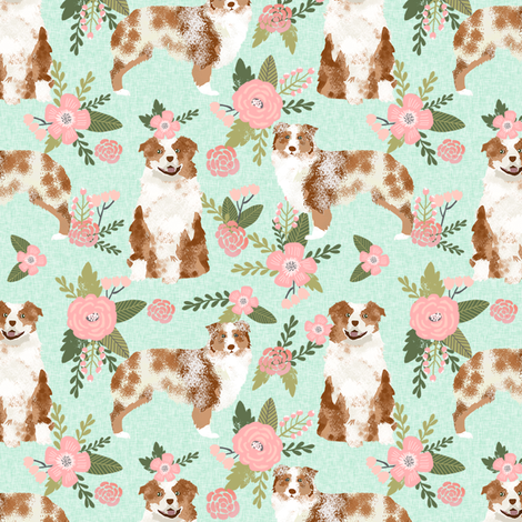 australian shepherd red merle pet quilt d coordinate floral dog fabric  fabric by petfriendly on Spoonflower - custom fabric