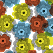 Flowers, red, yellow, blue, blac