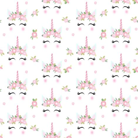 unicorn face floral unicorn quilt nursery fabric white fabric by charlottewinter on Spoonflower - custom fabric