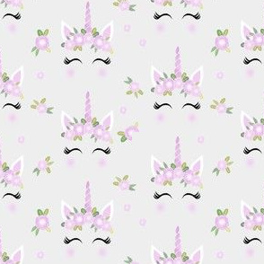 unicorn face floral unicorn quilt nursery fabric grey
