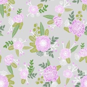 floral coordinate unicorn quilt nursery fabric grey
