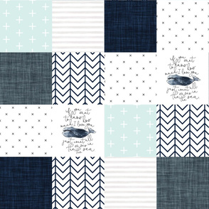 "6"" navy whale patchwork wholecloth"