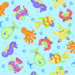 Kids Whimsy Sea Animals Blue