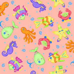 Kids Whimsy Sea Animals Orange