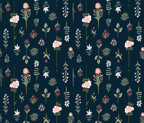 Flower Specimen-vintage-Midnight fabric by crystal_walen on Spoonflower - custom fabric