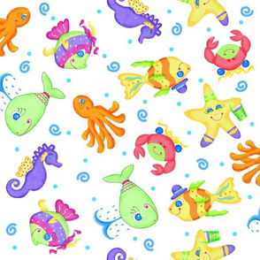 Kids Whimsy Sea Animals White