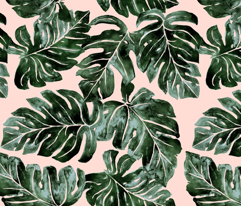 Jungle Monstera-Leaves_deep-green blush fabric by crystal_walen on Spoonflower - custom fabric