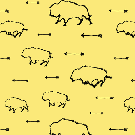 Buffalo Hunt // Yellow // Small fabric by thinlinetextiles on Spoonflower - custom fabric