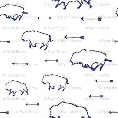 Buffalo Hunt // Blue // Small